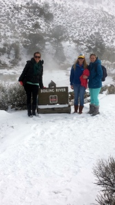 Alicia, me and Heather at the Boiling River in Yellowstone
